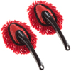 Car Duster for Interior Automotive Detailing- 2 Pack Washable Dashboard Brush Cleaner Tool Set for Vehicles or Household Cleaning by Stalwart, Red
