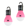 Portable LED Tent Light Bulb- 2 Pack Hanging Lights with 3 Settings and 60 Lumen By Wakeman Outdoors (Pink) (For Camping Hiking Tents and Emergency)