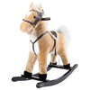 Rocking Horse Plush Animal on Wooden Rockers with Sounds, Stirrups, Saddle & Reins, Ride on Toy, 3+ by Happy Trails - Brown
