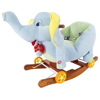 Rocking Horse Plush Animal Elephant 2-in-1 Wooden Rockers & Wheels, Seat & Seat Belt and Sounds, Ride on Toy for 3+ Years, by Happy Trails