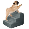 High Density Foam Pet Stairs 3 Steps with Machine Washable Zippered Removeable Micro-Fiber Cover with non-slip bottom by PETMAKER ? Gray