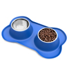 Stainless Steel Pet Bowls for Dogs and Cats- Set of 2 Dishes for Food and Water in Non Slip No Mess Silicone Tray- Bowls 24oz Each by PETMAKER -BLUE
