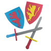 Foam Sword for Kids, Foam Sword and Shield Armor Pretend Playset, 2 Swords and 2 Shields for Boys and Girls by Hey! Play!