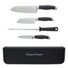 Professional Chef 5 Piece Knife Set, Stainless Steel Hand Forged Knives with Sharpening Steel and Zip Closure Storage Travel Bag by Classic Cuisine