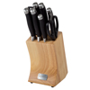 Professional Quality 9 Piece Stainless Steel Knife Set with Shears Sharpener Chef Bread Santoku Filet Paring Knives and Wood Block by Classic Cuisine