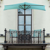 9-Foot Half Patio Umbrella ? Easy Crank Opening Shade Canopy for Balconies, Porches, or Against a Wall by Pure Garden (Blue)