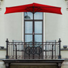 9-Foot Half Patio Umbrella ? Easy Crank Opening Shade Canopy for Balconies, Porches, or Against a Wall by Pure Garden (Red)