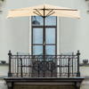 9-Foot Half Patio Umbrella ? Easy Crank Opening Shade Canopy for Balconies, Porches, or Against a Wall by Pure Garden (Tan)