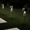 Solar Path Lights- 12.2? Stainless Steel Outdoor Stake Lighting for Garden, Landscape, Patio, Driveway, Walkway- Set of 12 by Pure Garden (Silver)