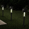 Solar Path Lights- 12.2? Stainless Steel Outdoor Stake Lighting for Garden, Landscape, Patio, Driveway, Walkway- Set of 12 by Pure Garden (Black)