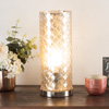 LED Uplight Table Lamp with Silver Mercury Finish, Embossed Trellis Pattern and Included LED Light Bulb for Home Uplighting by Lavish Home