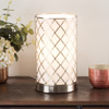 LED Uplight Table Lamp with Steel Finish, Fabric Overwrap, Laser Cut Quatrefoil Pattern and Included LED Light Bulb for Home Uplighting by Lavish Home