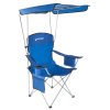 Camp Chair with Canopy-300lb. Capacity Sunshade Quad Seat with Cup Holder, Cooler, Carry Bag-Tailgating, Camping, Fishing by Wakeman Outdoors (Blue)