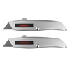 Utility Knife with Retractable Blade ? Ergonomic Aluminum Alloy Box Cutter with 3 Locking Positions and Carbon Steel Razors by Stalwart (Set of 2)