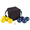 Bocce Ball Set- Outdoor Family Bocce Game for Backyard, Lawn, Beach and More- 4 Blue and 4 Yellow Balls, Pallino and Carrying Case by Hey! Play!