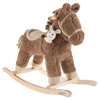 Rocking Horse Ride-on Toy with Friend-Children?s Soft Fabric Covered Wooden Rocker-Adorable Neutral Design-Fun for Boys and Girls by Happy Trails