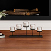 Tiered Votive Candle Holder- Handcrafted Iron and Glass Cup Centerpiece for 5 Tealights for Home D�cor, Wedding, Event by Lavish Home (Matte Black)