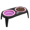 Elevated Pet Bowls with Non Slip Stand for Dogs and Cats-Removeable and Collapsible Silicone Feeder for Food and Water- 16 Oz Each By PETMAKER (Pink)