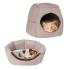 2 in 1 Convertible Pet Bed- Cat, Kitten or Small Dog Bed / Enclosed Cave House with Removable Foam Cushion and Soft Cover by PETMAKER (Brown Print)