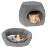2 in 1 Convertible Pet Bed- Cat, Kitten or Small Dog Bed / Enclosed Cave House with Removable Foam Cushion and Soft Cover by PETMAKER (Light Gray)