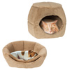 2 in 1 Convertible Pet Bed- Cat, Kitten or Small Dog Bed / Enclosed Cave House with Removable Foam Cushion and Soft Cover by PETMAKER (Tan)