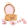 Kids Tea Set-Mini Porcelain Tea Party 17pc. Playset with Cups, Saucers, Spoons, Teapot, Carrying Basket-Pink Flower Design-Pretend Play by Hey! Play!
