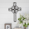 Metal Wall Cross with Decorative Floral Scroll Design- Rustic Handcrafted Religious Wall Art for D�cor in Living Room, Bedroom, More by Lavish Home