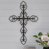 Metal Wall Cross with Decorative Fleur De Lis Design- Rustic Handcrafted Religious Wall Art for D�cor in Living Room, Bedroom, More by Lavish Home