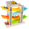 Toy Race Track and Racecar Set- Wooden Car Racer with 4 Colorful Cars with Moving Wheels, Ramps- Fun Cars Set for Boys and Girls by Hey! Play!