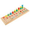 Montessori Math Sorter- Wooden Board with Pegs, Number Blocks, Colorful Stacking Rings-Preschool Educational STEM Counting Game for Kids by Hey! Play!