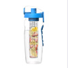 Infusion Water Bottle with Time Marker- 32 Ounce with Leakproof Lid Hourly Water Intake Measurements and Fruit Infuser by Classic Cuisine (Blue)
