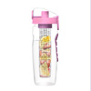 Infusion Water Bottle with Time Marker- 32 Ounce with Leakproof Lid Hourly Water Intake Measurements and Fruit Infuser by Classic Cuisine (Pink)