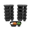 2-Compartment Portion Control Meal Prep Containers, 10 Pc Set with Leak Proof Lids- FDA Approved, BPA Free, Microwave/Freezer Safe by Classic Cuisine