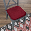 Memory Foam Chair Cushion-Square 16?x 16.25? Plush Chair Pad with Ties and PVC Dot Backing for Kitchen, Dining Room, or Porch by Lavish Home (Red)