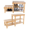 Bamboo Shoe Rack Bench with 2 Tiers of Shelves and 2 Seat Heights-Seat Storage and Organization-For Bedroom, Entryway, Hallway, Closets by Lavish Home