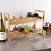 Bamboo Wine Rack-8 Bottle Tabletop or Countertop Beverage Holder-Modern and Compact Wine Storage for Kitchen, Dining Room or Bar by Classic Cuisine
