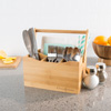 Bamboo Flatware Caddy- 4 Slot Portable Holder for Utensils, Napkins, Condiments, and More- Kitchen Storage and Organization by Classic Cuisine