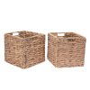 Villacera 12-Inch Square Handmade Twisted Wicker Storage Bin, Foldable Baskets made of Water Hyacinth | Set of 2