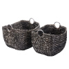 Villacera Tessa 15? Tall Handmade Wicker Water Hyacinth Rectangle Nesting Baskets in Black Braided Seagrass | Set of 2