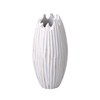 Villacera Handmade 10? Tall Round Mango Wood White Tulip Vase | Decorative Hand Carved Lined Flower Vase | Eco-Friendly and Sustainable Wood