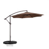 Villacera 10' Offset Outdoor Patio Umbrella with 8 Steel Ribs and Aluminum Pole and Vertical Tilt, Brown