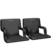 Stadium Seat Chair 2 Pack- Wide Bleacher Cushions with Padded Back Support, Armrests, 6 Reclining Positions and Portable Carry Straps By Home-Complete