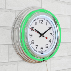 Neon Wall Clock- 14? Round, Double Light Ring, Dual Power, Analog Quartz Timepiece- Retro Décor for Bar, Garage & Game Room by Lavish Home (Green)