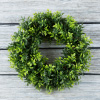 Round Wreath, Artificial Wreath for the Front Door by Pure Garden, Home D�cor, UV Resistant Artificial, Basil Leaf  ? 11.5 Inches