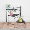 Plant Stand ? 3-Tier Indoor or Outdoor Folding Spiral Stairs Wrought Iron Metal Home and Garden Display with Staggered Shelves by Pure Garden (Black)