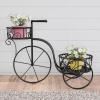 Tricycle Plant Stand ? 2-Tiered Indoor or Outdoor Decorative Vintage-Look Metal Display for Patio, Deck, Home or Lawn by Pure Garden (Black)