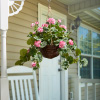 Faux Flowers?Hot Pink Geranium-Hanging Natural and Lifelike Floral Arrangement with Basket for Home or Office by Pure Garden
