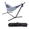 Double Brazilian Hammock with Stand? Woven Cotton, 2-Person, Outdoor Swing with Frame for Camping, Backyard or Patio by Pure Garden (Blue Stripes)