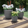 Fiber Clay Planters ? Modern Tapered Gray Potting and Replanting Pots with Drainage Holes for Backyard, Deck or Patio by Pure Garden (Set of 3)