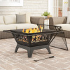 32? Outdoor Deep Fire Pit- Square Large Steel Bowl with Star Design, Mesh Spark Screen, Log Poker & Storage Cover- Patio Wood Burning by Pure Garden